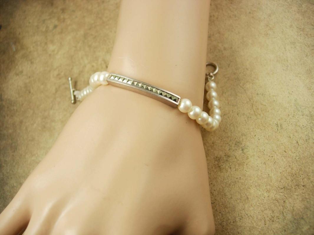 Vintage sterling pearl marcasite wedding Bracelet Carolee