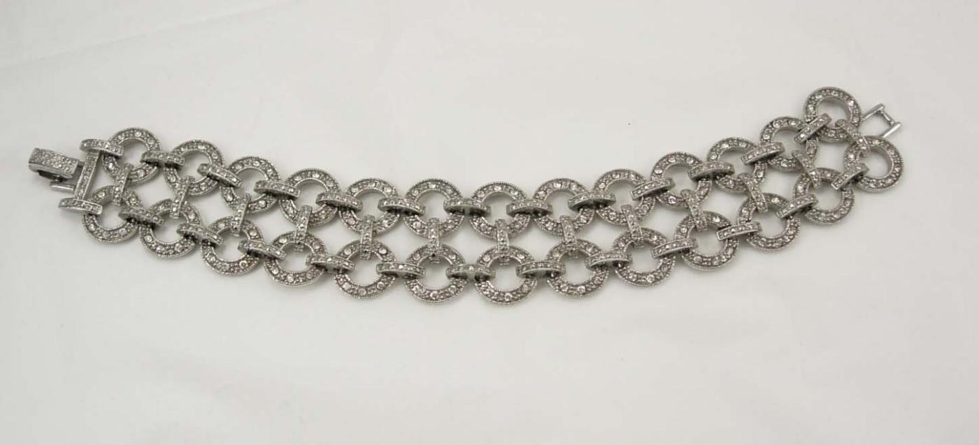 Vintage Early MOnet Pave rhinestone bracelet Deco style hundreds of rhinestones