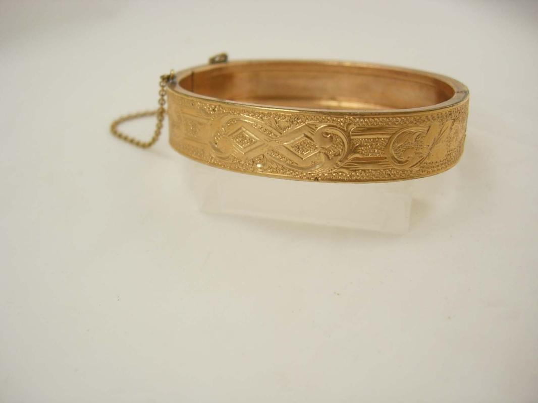 1874 antique Victorian rose gold filled bracelet bangle hallmarked
