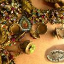 Vintage Michal Negrin necklace locket victorian angels charms Rhinestones
