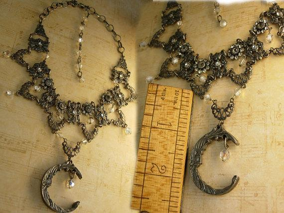 Mystical Moon Gothic necklace festoon glass and rhinestones with gunmetal drops
