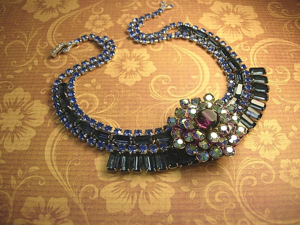 Vintage Rhinestone baguette Necklace BLUE glass aurora borealis statement necklace