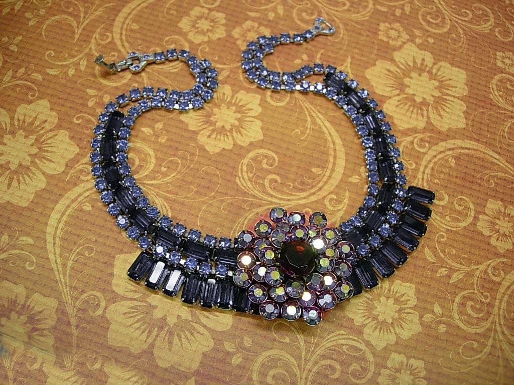 Vintage Rhinestone baguette Necklace BLUE glass aurora borealis statement necklace
