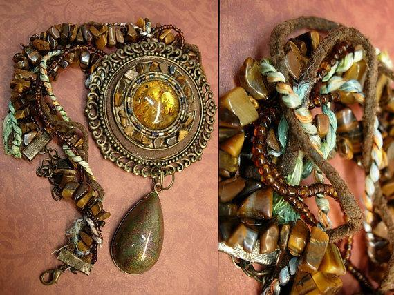 Huge Hippy Necklace textile & stone foiled glass earthy  amber real stone pendant