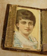 Minitaure Antique Sewing box kit 18th century with portrait inside and original egg eyed needles