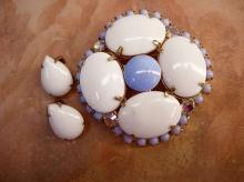 VIntage Milkglass rhinestone brooch and earrings baby blue milk glass