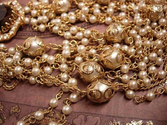 Vintage Edwardian pearl swag GLass topaz rhinestone necklace