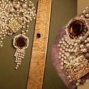 Vintage Edwardian pearl swag GLass topaz rhinestone necklace