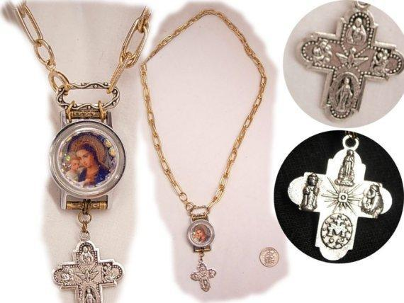 Bejeweled REligious Hanging Cross miniature Icon rhinestone Necklace