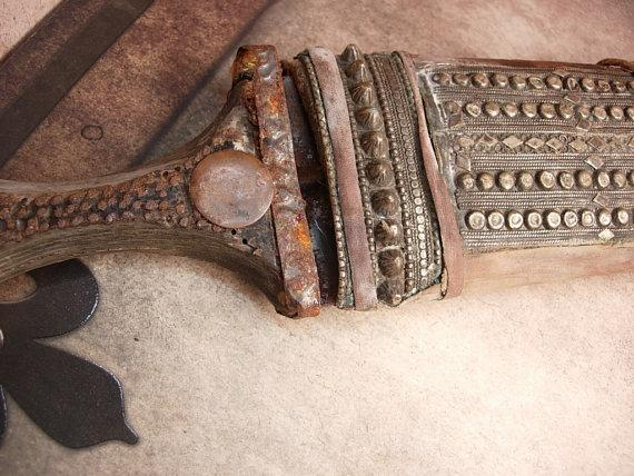 Bizarre primitive Arabian Nights Ceremonial Knife etruscan metal work ritual dagger