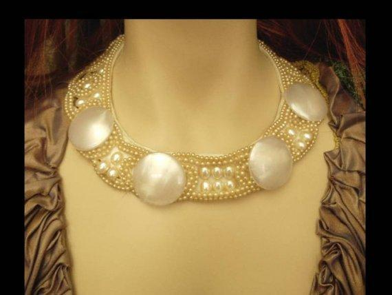 Vintage Glam HUGE Faux PEarl Runway Fashion necklace choker Hand sewn signed