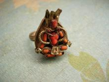 Antique Chinese Coral Goddess ring Medieval mythological Queen