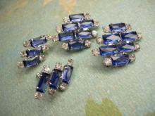 VIntage Open back Rhinestone Duette and screw On earrings Brilliant  sapphire blue baguettes