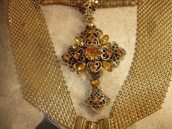 HUge vintage Czech jeweled cross on ornate mesh necklace renaissance and goth revival