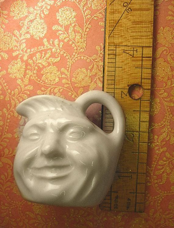 Vintage Child's Fairytale Face jug nursery rhyme moon faced pitcher