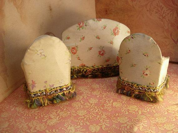 Antique Silk Doll sofa and chairs Miniature doll furniture made in NY