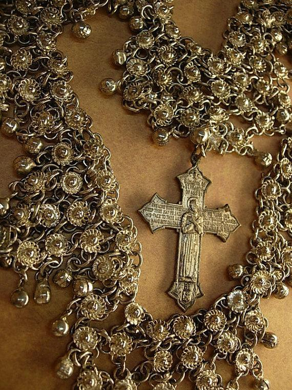 Medieval Goddess necklace Gothic antique cross HUGe statement collar bib religious cross