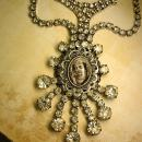 Paste rhinestone Flapper necklace Religious Icon portrait with huge sprays of rhinestones Wedding necklace