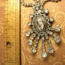 Paste rhinestone Flapper necklace Religious Icon portrait with huge sprays of rhinestones Wedding necklace