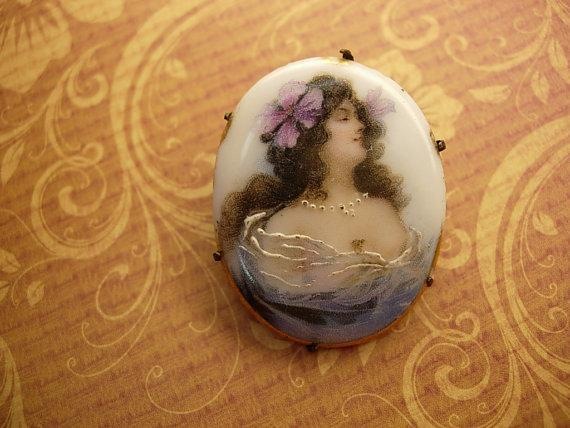 Antique Mucha Brooch Painted porcelain portait Bohemian Goddess with flower in her hair