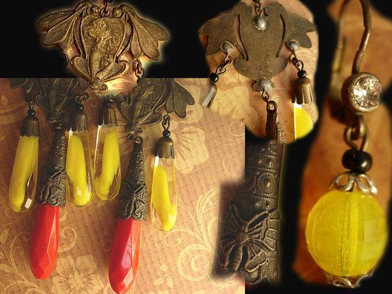 Vintage Czech Earrings DRAMATIC Glass chandelier drops nouveau fairy  with wings and butterfly shoulder duster