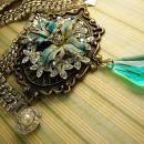 HUGE Enamel necklace Rhinestone collar choker Aurora Borealis Fleur de lis prism pendant drop OOAK