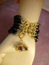 Vintage black glass bracelet 6 row bracelet amethyst charm fob bracelet costume jewelry