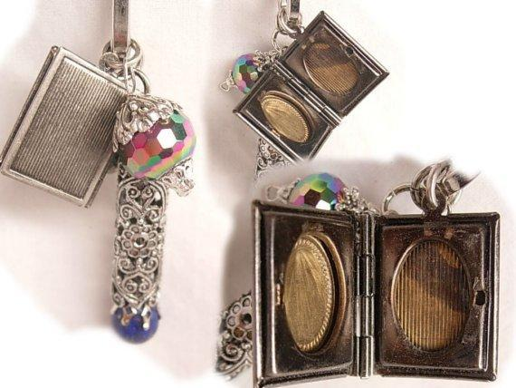 VIntage medieval portrait Book Locket charm fob necklace Lapis fob