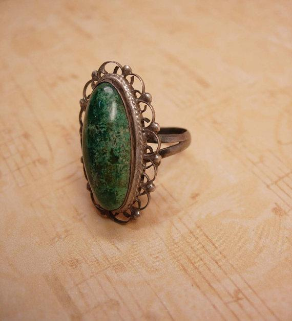 Vintage Art Deco talisman Malachite Signed Ring sterling Mexico filigree setting