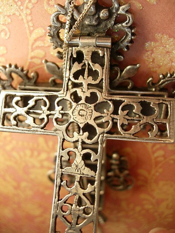 HUGE Antique skull Cross reliquary necklace Shrine sterling mythological cherubs and hidden compartments