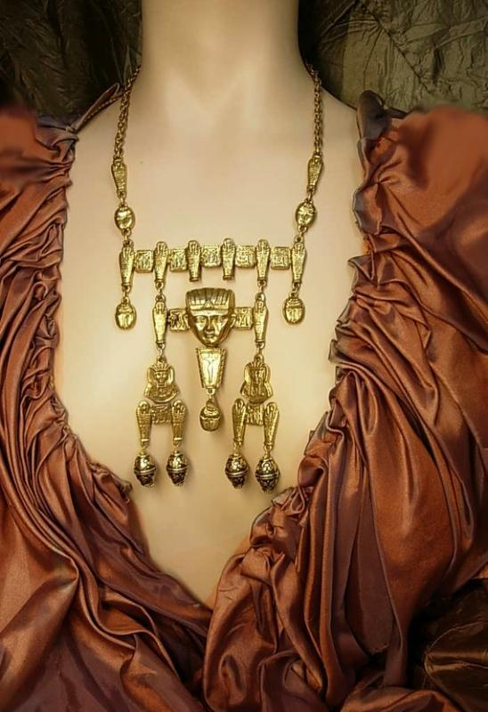 HUGE Egyptian Pharaoh Necklace with mummies scarabs and more Signed