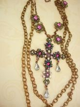 Gothic Medieval Cross statement necklace chandelier rhinestone teardrops and glass Bohemian