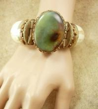 Vintage HUGE Gypsy Bracelet Bohemian chic carved with agate
