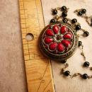 Gothic RED rhinestone locket Medieval Cross with rosary beads