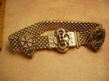 ANtique Victorian 10kt rose gold garnet slide bracelet and screw on garnet Earrings