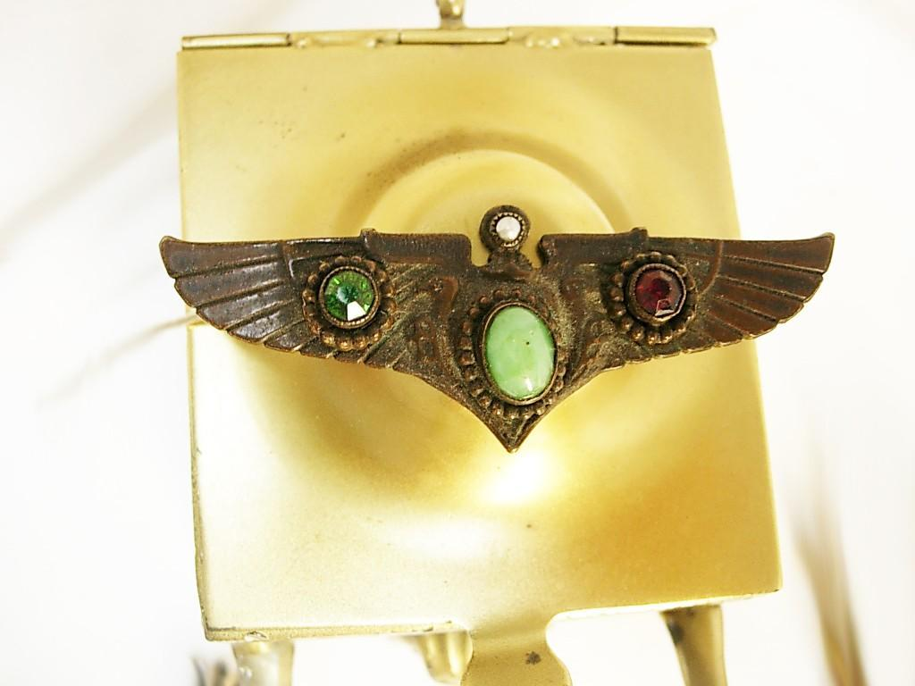 Vintage Deco Winged Brooch jeweled Egyptian revival Grand tour with VULTURES Sun disks