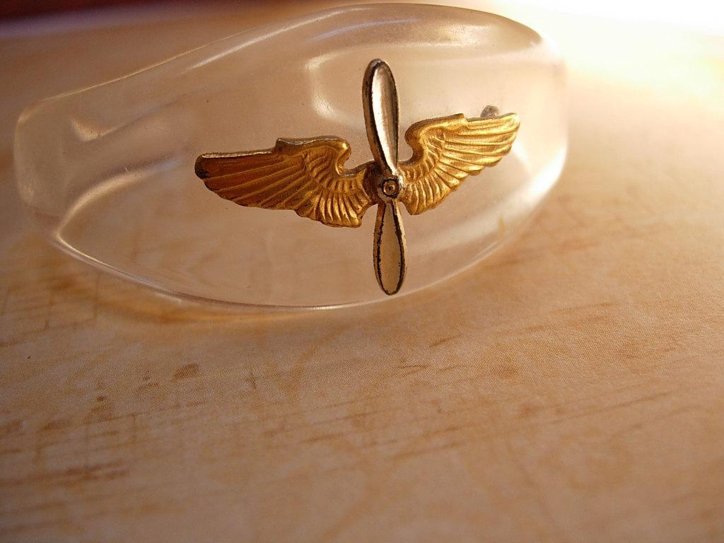 Vintage CHILDS WW11 Lucite sweetheart bracelet cuff