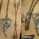 Sterling HEart Goddess necklace and deco tassel chandelier choker fairy wings