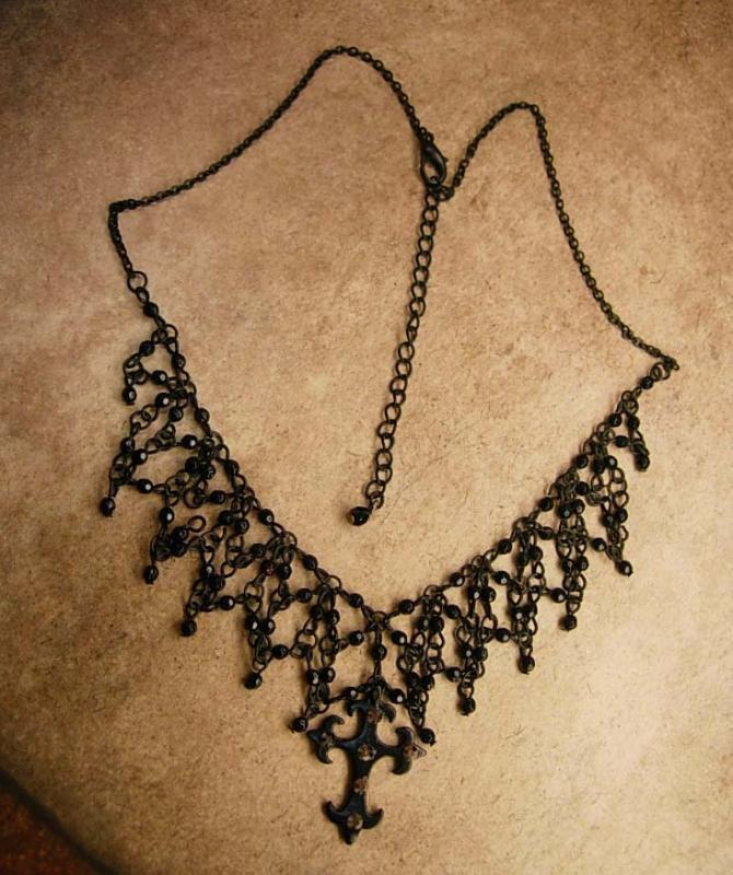 Goth Black Spider web Cross choker marcasite cross necklace