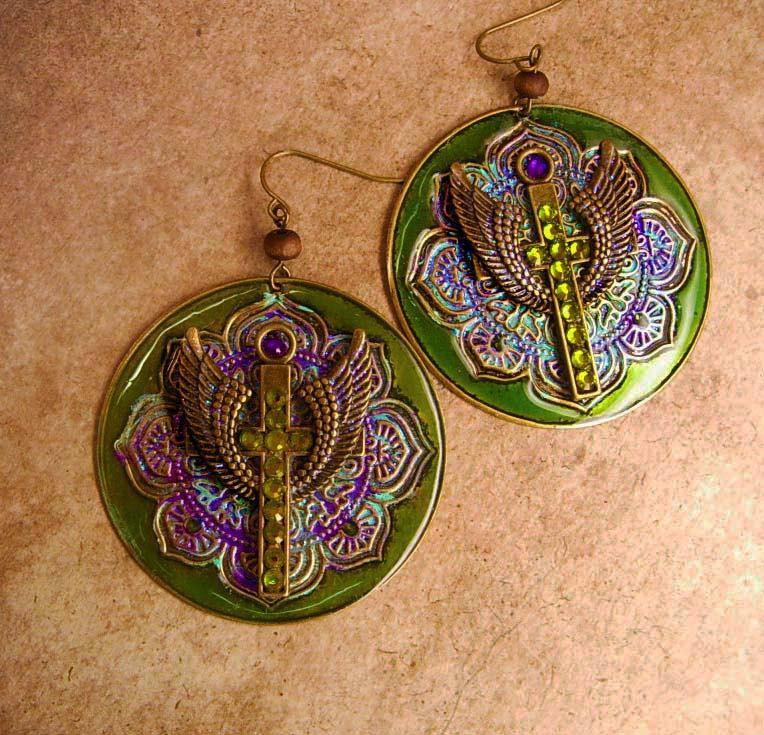 Gothic Angel Wings Cross earrings Iridescent olivine rhinestone Bohemian Colors