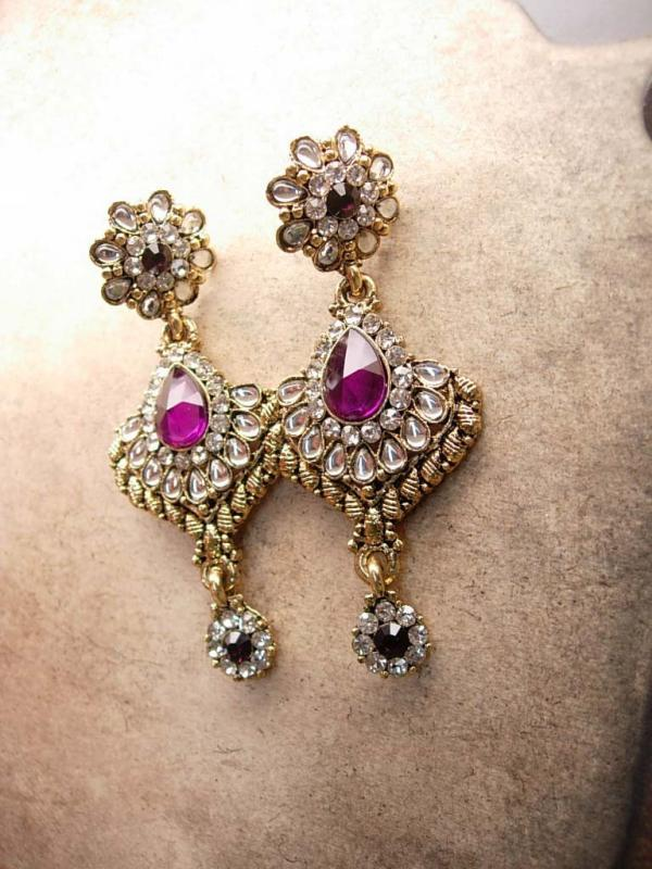 Exotic statement necklace 500 rhinestone Bib collar Chandelier earrings Fit for a Queen purple drops