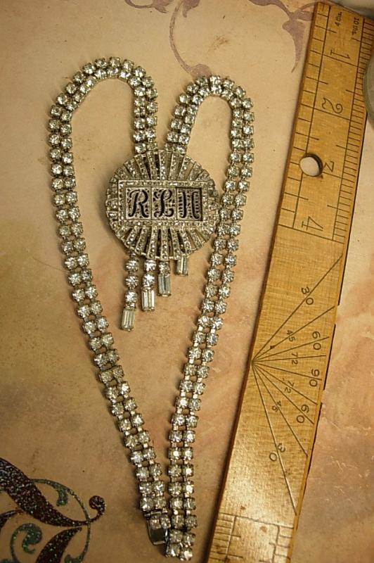 Art deco Vintage necklace brooch conversion set marcasites and rhinestones flapper fringe