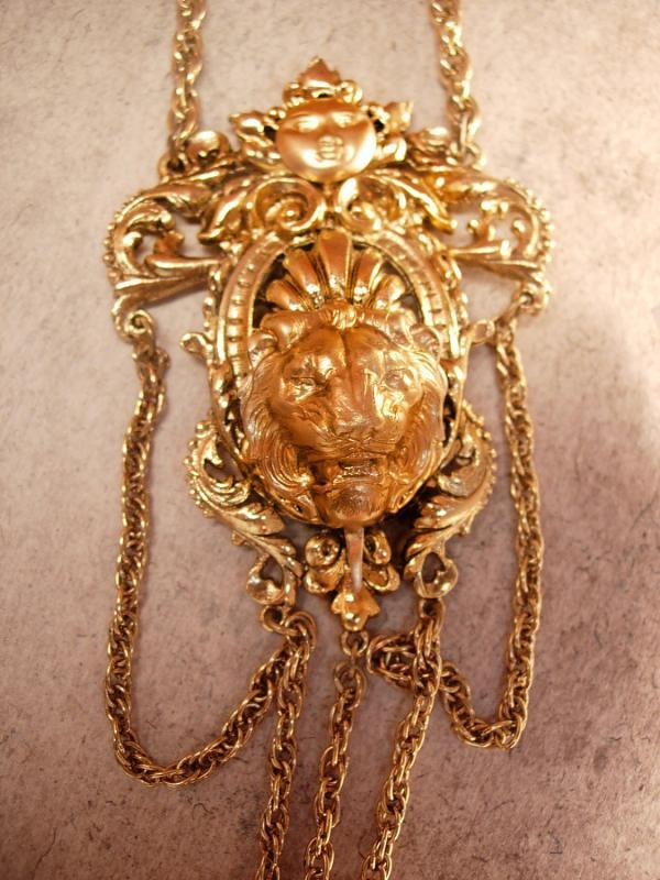 Vintage Signed Art Lion and moon necklace Gothic swags and fobs