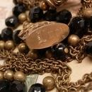 Antique Jet Mourning necklace with festoon drops and antique Lucy Fob chandelier drops double strand vintage jewelry