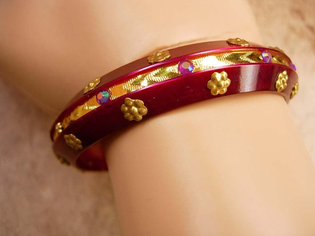 Vintage Bohemian RED Gypsy rhinestone bracelet bangle