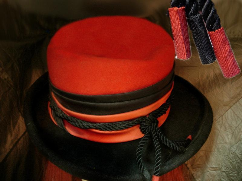 Vintage Steampunk Fedora Top Hat Halloween orange and black rim with tassels Bollman & Co
