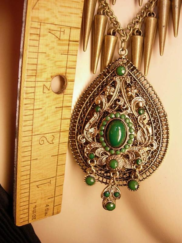 Bohemian GOddess Tassel Necklace Emerald victorian drop HUGE statement necklace