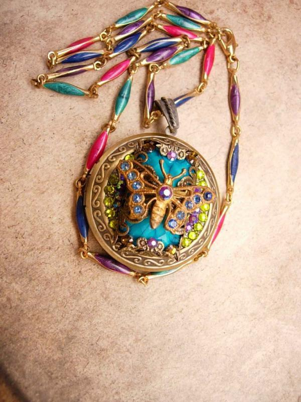 Czech Rhinestone butterfly Locket Bohemian Fairy with enamel Chain