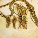 Early Fringe BUckle Bracelet NEcklace earrings All Signed Victorian swags Goldette