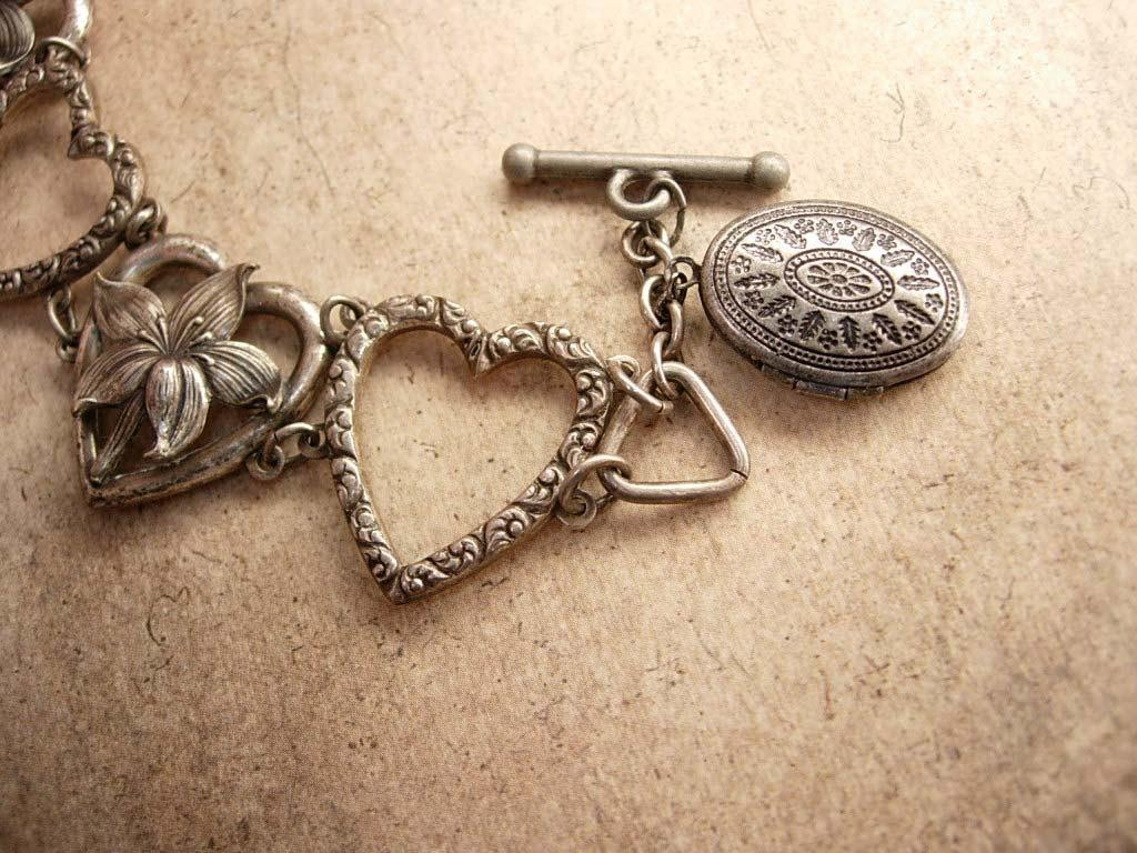 VIntage Victorian Sweetheart Fob Bracelet with locket for Valentines day